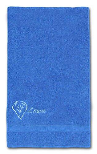 Sternzeichen Handtuch 50x100 cm, bestickt mit Tierkreiszeichen und Schriftzug Löwe in Hellblau, Frottiertuch Farbe 325 royal - blau