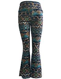 Golpear Los Pantalones Impresión Vintage Etnica Estilo Mujer Elegantes  Largo Pantalon Fashion Único Festivo Hippie Cintura 635110fbfee2