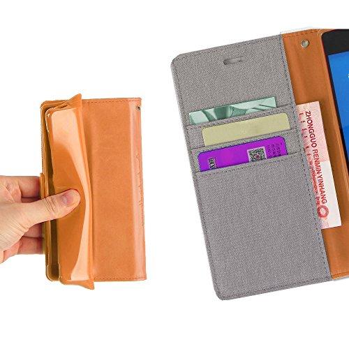 LG V10 Hülle Leinwand Umhängetasche REXANG Geschenk [Brieftasche und Kartenfächer] [Bookstyle Buch] [mit Stand Funktion] [Woven + Leder (PU) + TPU] (LG V10, Grau) - 5