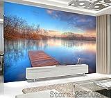 Kuamai Moderne Mode 3D-Effekt Benutzerdefinierte Tapete Wohnzimmer Schlafzimmer Innenwände Hintergrund Wandbild Schöne Landschaft Tapete-200X140Cm