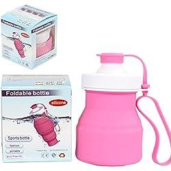 Sidiou Group Proteína Gimnasio wiggler BPA plegable libre para viaje al aire libre silicona cantimplora de deporte 520ml varios colores (rosa)