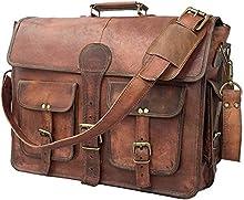 Cuero DHK 18 Inch Vintage Handmade Leather Messenger Bag Laptop Briefcase Computer Bag for Men Brown Brown 16 inch