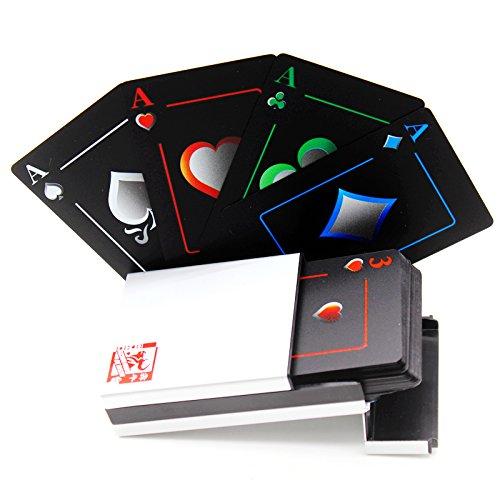 Wasserdichtes Pokerkarten schwarze Spielkarten Profi Poker Karte Spielkarte playing cards aus Plastik Top Qualität Plastic Poker für Ihr Poker Vergnügen hergestellt von Leaptech