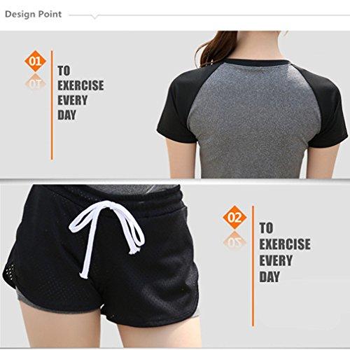 REALLION Set da yoga da donna 2 pezzi (T-shirt a maniche corte + pantaloncini) Abbigliamento sportivo da palestra da palestra ad asciugatura rapida Grigio e nero