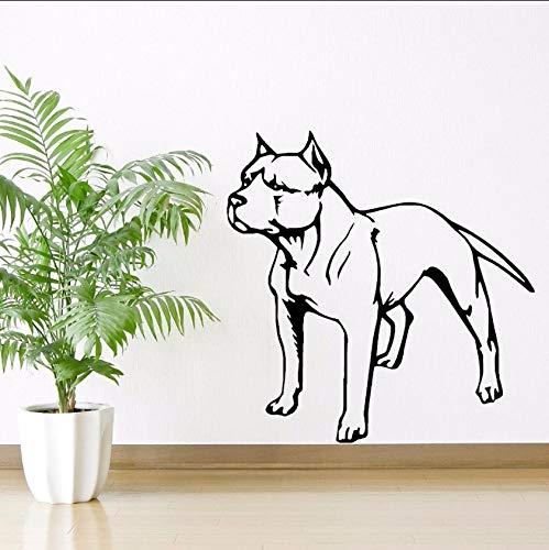 Dalxsh Vinyl Wall Sticker Removable American Pit Bull Terrier Dog Wall Decal Puppy Pet Wall Art Mural Pet Dog Shop Decoration 57X58Cm (Halloween Puppy Wallpaper)
