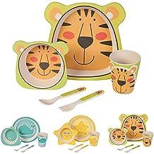 Kaufdichgruen - Set da cucina in bambù per bambini da 5 pezzi motivo: Tigre I Servizio da tavola per bambini Ciotola Muesli Bicchiere Piatti Bambini I Riciclaggio del materiale naturale senza BPA