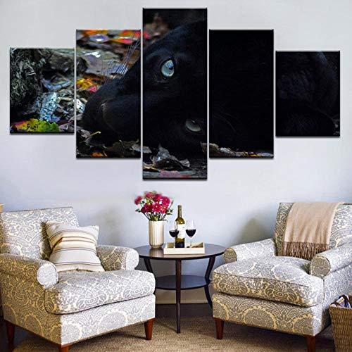 EUFJHS Hd Bilder- Leinwandbilder - Fertig Aufgespannt - Leinwand - 5 Teilig - Wandbilder - Kunstdrucke Pcs Printing Animal Black Panther Art Group Home Decor Wall Poster Picture-B2 Rahmen -