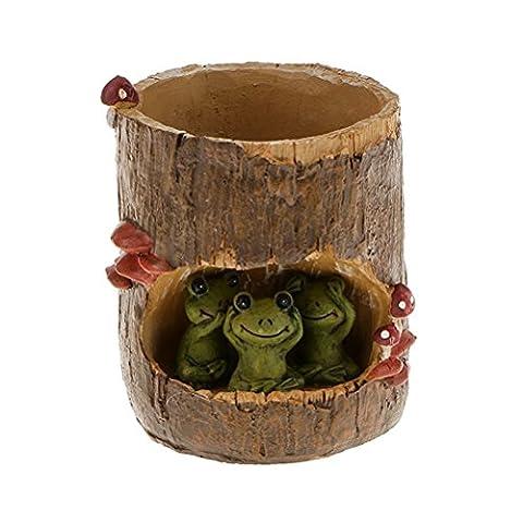OUNONA Cute Green Frog Flower Sedum Succulent Pot Planter Bonsai Trough Box Plant Bed Office Home Garden Pot