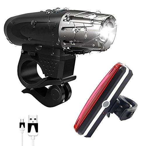 LED Fahrradbeleuchtung Set, USB Wiederaufladbare Wasserdicht LED Fahrradlicht Set - Vorder Fahrradbeleuchtung und Rücklicht Fahrradlampe - 4 Licht-Modi für Radfahren, Camping und täglichen Gebrauch - Not Just A Gadget Test
