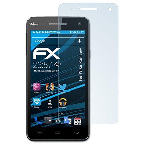 atFolix Schutzfolie kompatibel mit Wiko Rainbow Folie, ultraklare FX Bildschirmschutzfolie (3X)