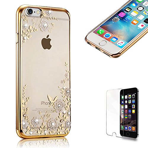 Für iPhone 6/6S 4.7 Zoll TPU Silikon Handy Hülle Schutzhülle,Funyye Bling Glitzer Sparkles Strass Diamond Crystal [Weiße Blume] Clear Case Für iPhone 6/6S 4.7 Zoll,(Rose Gold) Electroplate Plating Fra Gold:Weiße Blume