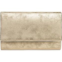 CASPAR TA381 Damen elegante Envelope Clutch Tasche / Abendtasche mit langer Kette, Farbe:gold;Größe:One Size