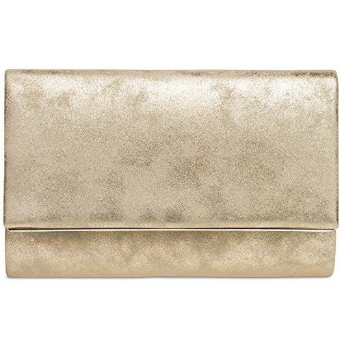 CASPAR TA381 Damen elegante Envelope Clutch Tasche / Abendtasche mit langer Kette, Farbe:gold;Größe:One Size (Clutch)