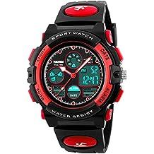fomtty bambini Orologi Ragazzi Ragazze Digital Unisex Sport digitale e analogico orologio da polso impermeabile Allarme per l' età 7–15anni per bambini (rosso)