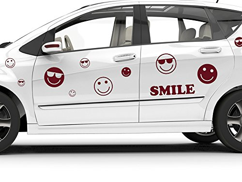 GRAZDesign 740178_57_932G Auto Aufkleber Autoaufkleber Tuning Sticker Set Smile Cool Sonnenbrille (108x57cm//932 graphit metallic)