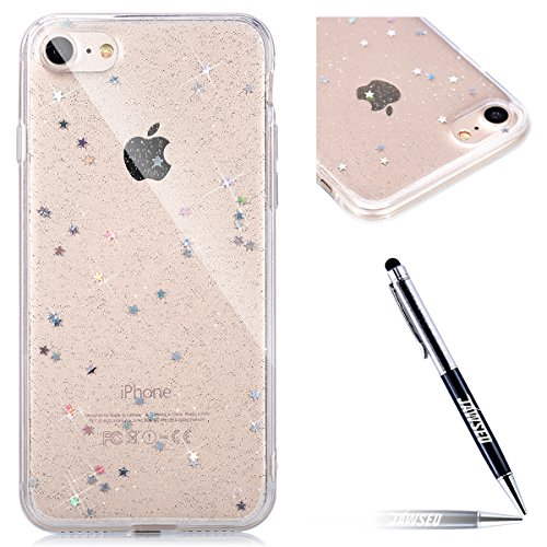 Custodia iPhone 6S, iPhone 6 Cover, iPhone 6 6S Custodia Silicone, JAWSEU Ultra Sottile TPU Cover Custodia per iPhone 6/6S Coperture Protectiva Bumper Stella Paillettes Flessibile Gomma Morbida Silicone Custodia Cover per iPhone 6 / iPhone 6S Anti Graffio Anti Scossa Anti Scivolo Soft Back Cover Case per Apple iPhone 6 4.7, iPhone 6S 4.7 Custodia - Chiaro Stella