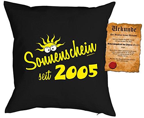 12 Geburtstag Sprüche Kissen - Kuschelkissen Kinder : Sonnenschein seit 2005 -- Dekokissen ohne Füllung - Farbe: schwarz