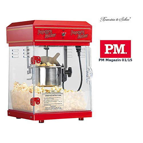 "Rosenstein & Söhne Popcornmaschine: Profi-Retro-Popcorn-Maschine\""Cinema\"" mit Edelstahl-Topf im 50er-Stil (Profi Popcornmaschine)"