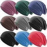 Hatstar Klassische Jersey Slouch Long Beanie Mütze, leicht und weich, Reversible Bicolor für Damen und Herren (Jeans Lila meliert)