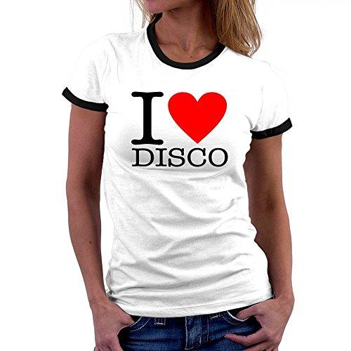 Teeburon I LOVE Disco Ringer Damen T-Shirt (Musik Damen Ringer T-shirt)