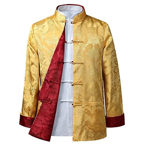 BOZEVON Männer/Frauen Chinesische Tang-Anzug Oberseiten - Beide Seiten Beschichten Jacke langärmelige Kampfkunst Kung Fu Hemden Chinesische Tang-Klage Nationale Kostüme, XL/Stil 01 - - Roten Anzug Jacke Kostüm