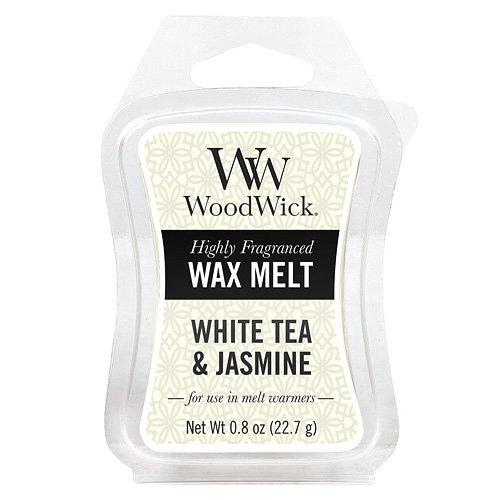 Woodwick Bougie parfumée au thé Blanc et Jasmin Mini Cire Fondre, en Plastique, Jaune