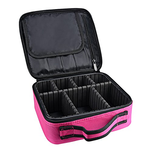 DCCN Beauty Case Borsa Trucco Small Make Up Box Professional Vanity Beauty Trousse Custodia Da Viaggio Con Scomparti Regolabili Rosa
