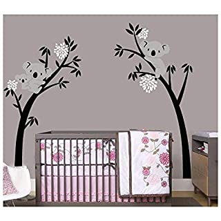 BDECOLL Wall Stickers,Family(Mon-Dad-Baby) Koalas on the tree Wall decals,Kid decal art,nursery bedroom decorations-White