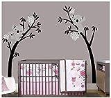 BDECOLL Wandtattoo Baum/Koala-Baum-Wandsticker/Baum Cartoon Tiere Koala Wandaufkleber/Babyzimmer Kinderzimmer Entfernbare Wandtattoos(Black branch White flower)