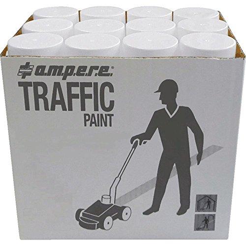 A.M.P.E.R.E 630101001 12 Dosen Bodenmarkierungsfarbe AMPERE TRAFFIC PAINT, Farbe: weiß