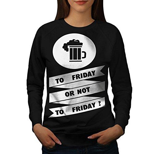Vendredi Bière Boisson Drôle Femme S-2XL Sweat-shirt   Wellcoda Noir
