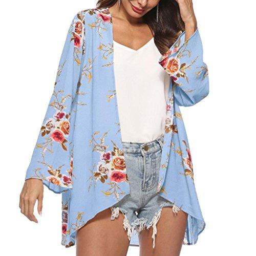 ❤️Timogee Frauen Chiffon Blumen Drucken Kimono Lose Halbe Hülse Schal Chiffon Strickjacke Beachwear Cardigan Strandkleid Sommer Cover up Strickjacken Schöne Tops (S, Blau)
