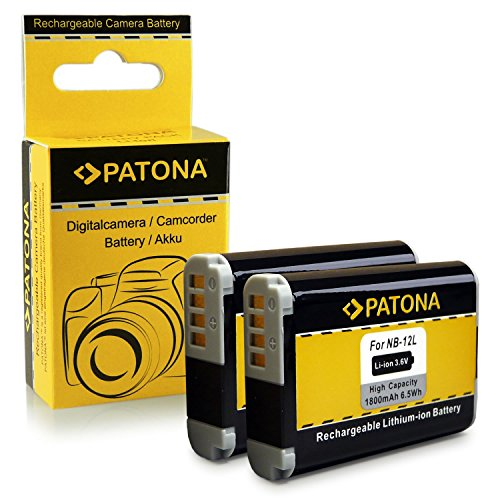 2x Batería -NB-12L NB12L para Canon PowerShot N100 | PowerShot G1X Mark II | Legria Mini X | Vixia Mini X [ Li-Ion; 1800mah; 3.6V ]