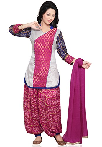 Utsav Fashion Bandhni Printed Straight Cut Suit in White and Pink Colour