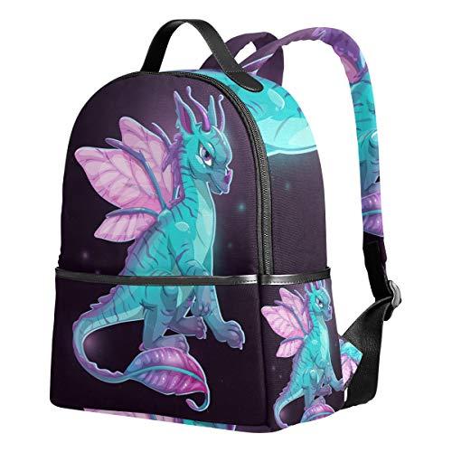 Ahomy Schulrucksack, Cartoon-Motiv, Blauer Fantasy-Drachen-Bookbag, Reisetasche, großer lässiger Rucksack für Teenager, Mädchen und Jungen