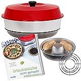 WoC Omnia Spar Set Midi | Omnia Camping Backofen + Omnia Gitter Aufbackgitter + Kochbuch Auflage mit 50 Rezepte für die Reise, Caravan & Camping