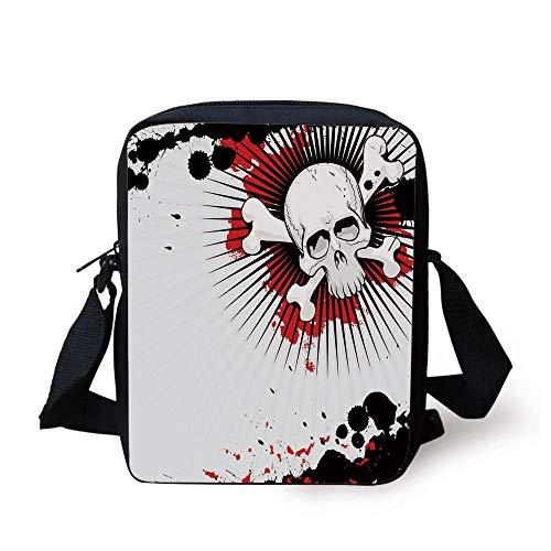 Crossed Bones Over Grunge Background Evil Scary Horror Graphic,Pearl Red Black Print Kids Crossbody Messenger Bag Purse ()