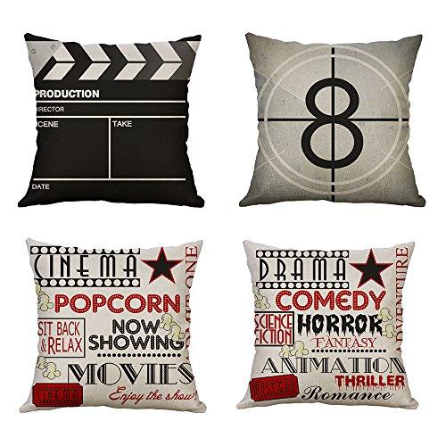 Miulee set di 4 cuscino stampato lino di film serie federe decorativo quadrato federe cuscino set custodia per divano letto auto 18