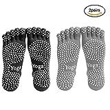 Men Yoga Socks 5-toe with Full Grip 2 Pairs (M)