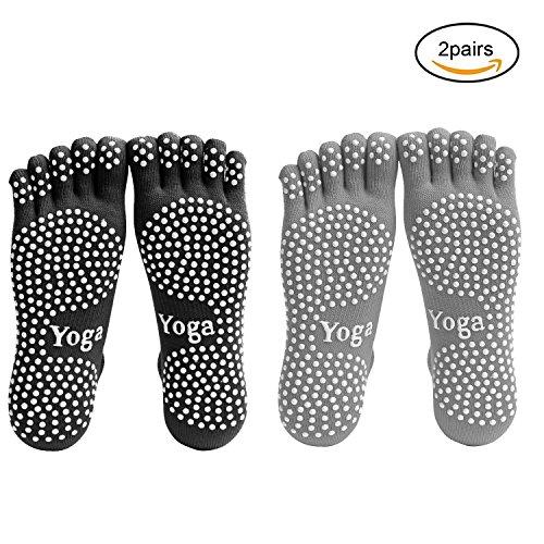 EQLEF® Men Yoga Socks 5-toe with Full Grip 2 Pairs