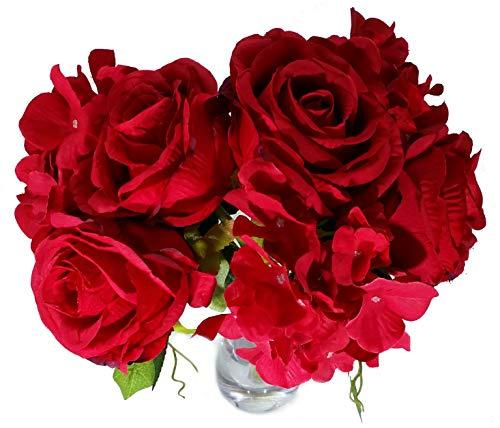 MM TJ Products Künstliches Blumenarrangement mit Vase: Hortensien/Rosen, Blumenstrauß rot Greenbrier Hotel
