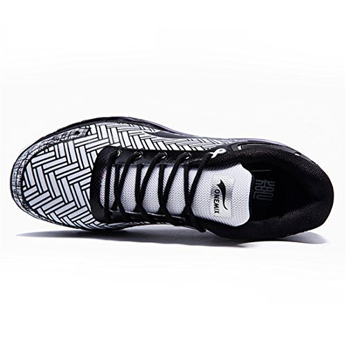 ONEMIX Baskets Chaussures de Sport Course Gym Fitness Sneakers Running Homme Blanc