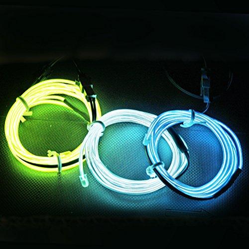 5FT / 1.5M Sound aktiviert Neon leuchtende Strobing Elektrolumineszenzdraht (Ton aktivierte EL-Draht Blau Grün Aqua) für Party-Tanz-Auto-Dekor Halloween Dekoration (Erstellen Halloween Kostüme)