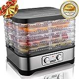 Meykey Dörrautomat mit Temperaturregler, Dörrgerät für Lebensmittel, Obst- Fleisch- Früchte-Trockner, Dehydrator, BPA-frei, 5 Etagen, 250W