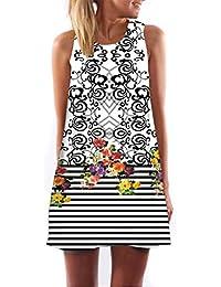 ee9e18722df Elecenty Damen Ärmellos Sommerkleid Minikleid Strandkleid Partykleid  Rundhals Rock Mädchen Blumen Drucken Kleider Frauen…