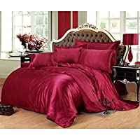 ESTELLEF 4-Piece Satin/Sateen Silky Bed Sheet Set Bedding Collection,Summer Duvet Cover Sets Flat Sheet Set (1 Duvet Cover+Sheets + 2 Pillow Shams) (Color : K, Size : King)