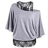 Uniquestyle Damen T-Shirt Große Größen Oberteile Baumwolle Frauen Lose Spitze Shirt (Grau, XXL)