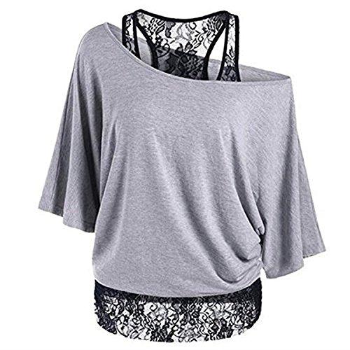 Uniquestyle Damen T-Shirt Große Größen Oberteile Baumwolle Frauen Lose Spitze Shirt (Grau, M)