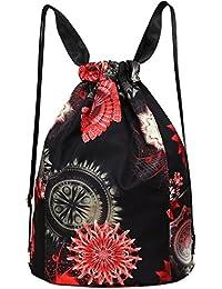 Nylon Flower Print Drawstring Bag Backpack Lightweight Shoulder Bag Sackpack Gym Bag By Amily
