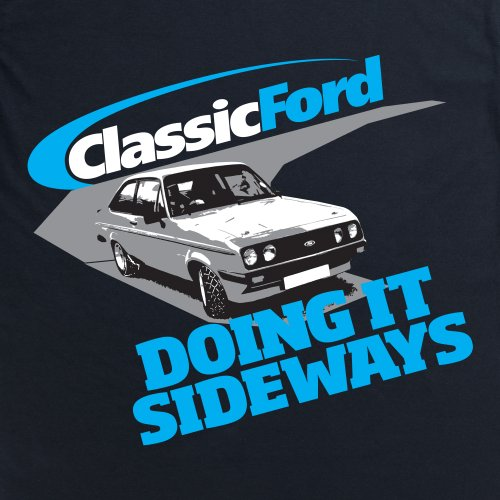 Classic Ford Doing It Sideways T-Shirt, Herren Schwarz